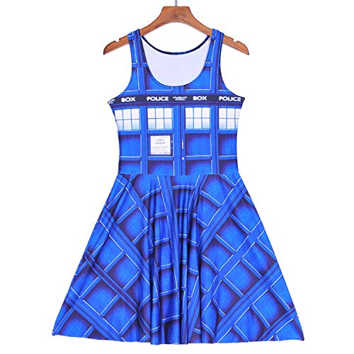 Sexy Girl Women Summer Golden The Daleks Tardis 3D Digital Prints Reversible Sleeveless Skater Pleated Dress 1180 4XL]()