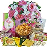 Art of Appreciation Gift Baskets You're The Sweetest Rose Bouquet  Gift Bag Tote of Tea, Snacks and Treats