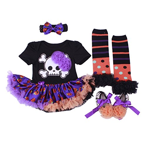 BabyPreg Baby Girls Halloween Skeleton Tutu Dress Headband Leggings Shoes, Pumpkin CostumeTutu Dress 4PCS Headband Leggings Shoes (Skeleton, M for 6-9 Months) -