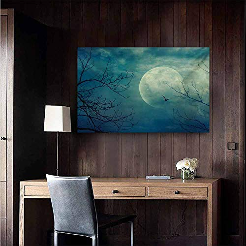 duommhome Horror House Simulation Oil Painting Halloween with Full Moon in Sky and Dead Tree Branches Evil Haunted Forest Print Decorative Painted Sofa Background Wall 24