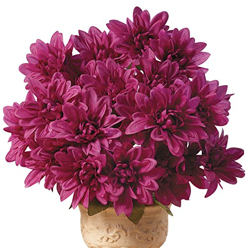 Chrysanthemum Artificial Maintenance-Free Flower Bush - Set of 3