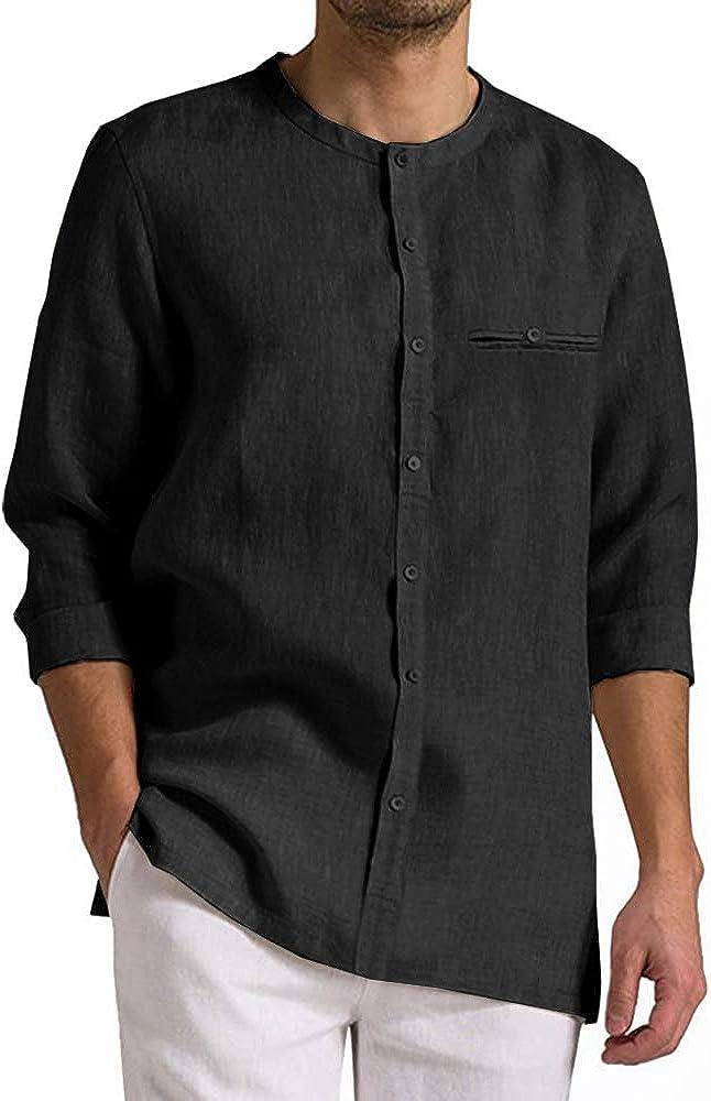 Mens Button Down Long Sleeve Shirts Cotton Casual Summer Beach Regular Fit Fashion Basic Tee Tops