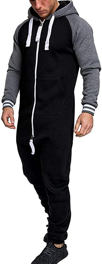 Mens Long Sleeve Romper Zipper One Piece Tracksuit Overall Jumpsuit Hoodies