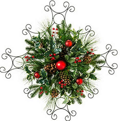 (Mikash 24Hx24W Holly, Pinecone, Berry Pine Artificial Hanging Wreath -Red/Green | Model WRTH - 468)
