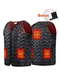 Niubalac Heated Vest, USB Charging Heated Clothing Size Adjustable Washable Lightweight Pain Relievers for Motocycle, Hiking,Hunting, Fishing, Skiing, Outdoor Activities fits Men Women Unisex