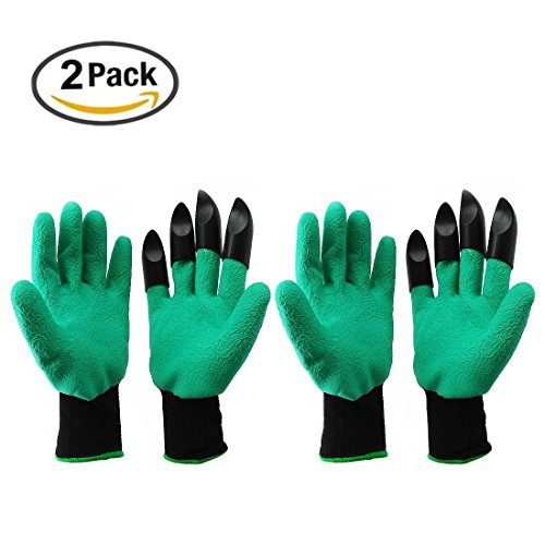iCreating Garden Genie Gloves (2 Pairs) with Right Hand Fingertips ABS Plastic Sturdy Claws for Digging, Planting, Safe for Rose Pruning- As Seen On TV