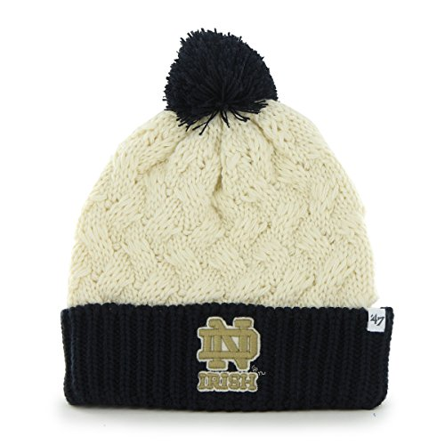 Women's NCAA Notre Dame Fighting Irish Cable Knit Cuffed Beanie with Pom by '47