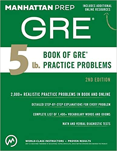 5 lb Practice Problems in Book and Online Book of GRE Practice Problems 1,800