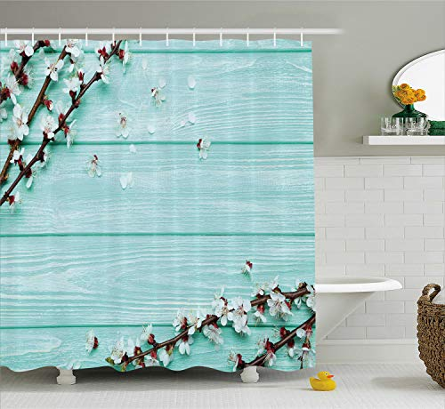 Ambesonne Mint Shower Curtain, Spring Cherry Blossom Petals Branch on Rustic Wooden Planks Seasonal Picture, Fabric Bathroom Decor Set with Hooks, 70 Inches, White Brown Seafoam