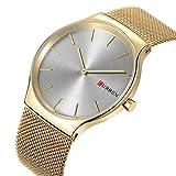 Curren Stainless Steel Slim Men Watch Quartz Casual Watch Simple Black dial (Gold White)