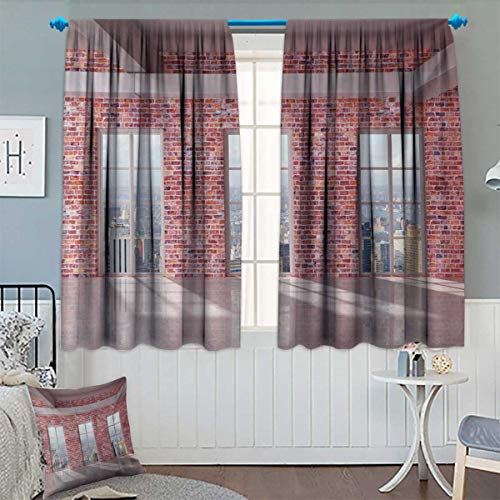 Anhounine Modern,Blackout Curtain,Red Brick Wall Loft Interior with Windows to City Urban Contemporary Design Print,Customized Curtains,Multicolor,W72 x L63 inch ()