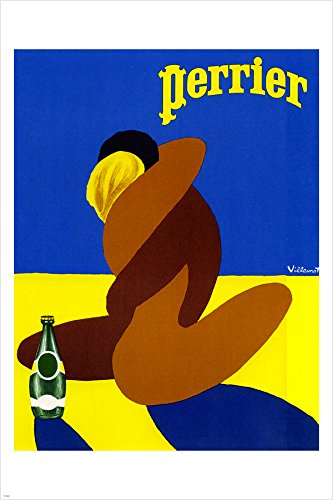 vintage PERRIER ad poster by villemont LOVERS EMBRACING mode