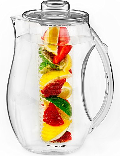 Vremi Fruit Infuser Water Pitcher - 2.5 liter Plastic Infusion Pitcher with Lid for Loose Leaf Tea - Large BPA Free Infuser Pitcher with Spout - 84 oz Sangria Pitcher Vodka Infuser Insert - Clear ()