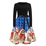 WOCACHI Final Clear Out Christmas Dresses Womens Cat Musical Notes Vintage Swing Dress Long Sleeve A Line Xmas Reindeer Party Prom Maxi Mini Knee Length Slim Fit Backless Sexy Deep V Neck Sashes