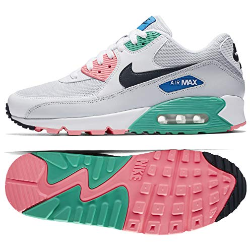 Nike Mens Air Max 90 Essential Running Shoes White/Obsidian/Blue Nebula AJ1285-100 Size 10
