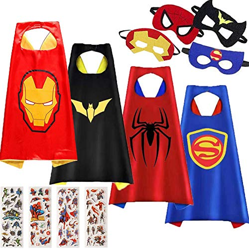Superhero Toys-Superhero Capes for Kids-Cartoon Hero Costumes and Masks Birthday Party Gifts (4 pcs) -