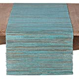 SARO LIFESTYLE 217.TQ1672B Melaya Collection Nubby Texture Woven Table Runner, 16'' x 72'', Turquoise