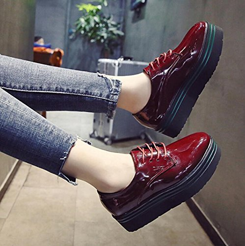 KHSKX-Red The England Women'S Shoes Round Head Small Sponge Cake Thick Shoes Students Korean Version Of Casual Shoes With A Single Female 36 VbSzDOlA