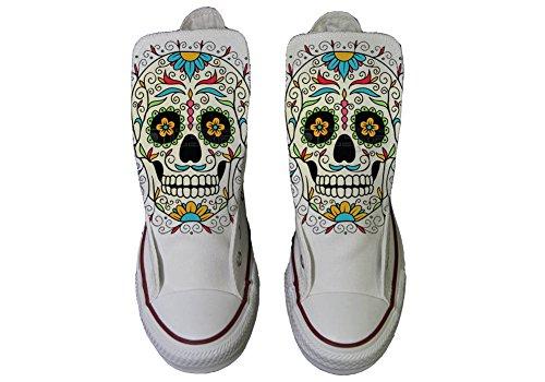Artigianale con Converse Star Stampa Skull Alta Scarpa mys Flower Personalizzate MESSICAN all nBw4qx6S