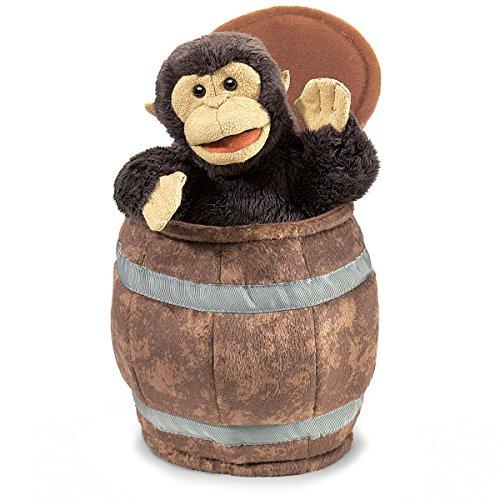 Folkmanis Monkey in Barrel Hand Puppet -