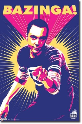 Big Bang Theory Bazinga  Sheldon Pop Art Tv Poster 22 X 34 Inches