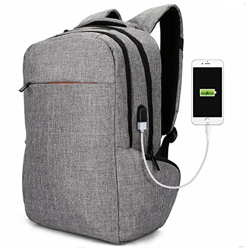 """Laptop Backpack Anti-theft School Backpacks 17"""", Tocode Unique Travel Rucksack with USB Charging Port Business Computer Bags Bookbags Daypack for Men and Women, Gray"""