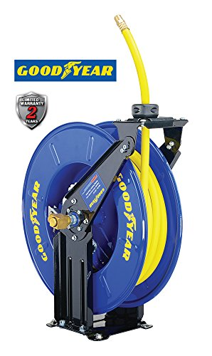 Goodyear Steel Retractable Air Compressor/Water Hose Reel with 3/8 in. x 50 ft. Rubber Hose, Max. 300PSI Air Water Hose Reel