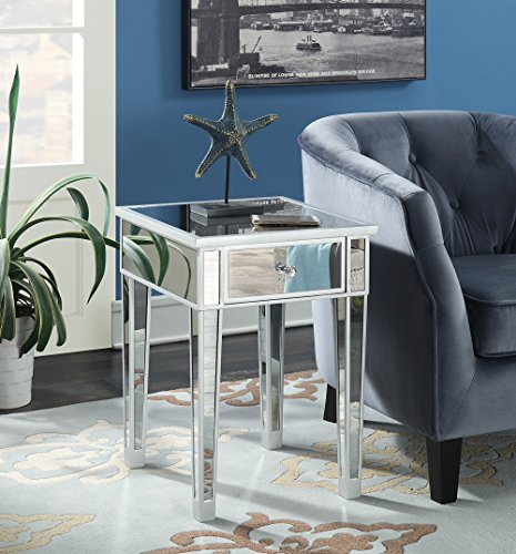 (Convenience Concepts Gold Coast Mirrored End Table with Drawer, Silver / Mirror)