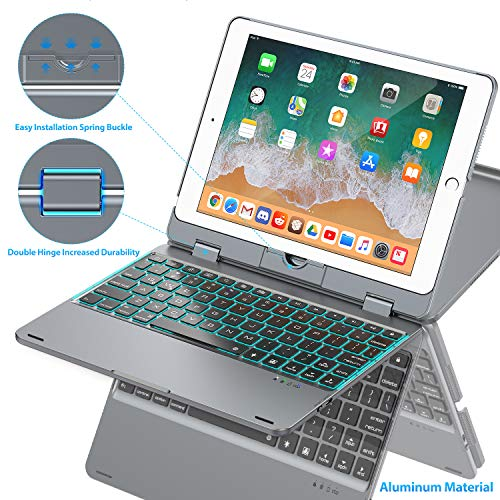 Keyboard Case Compatible with iPad 2018 (6th Gen)/2017 (5th Gen)/Pro 9.7/Air 2 & 1   Double-Rotating Hinge & Aluminum Keyboard/Case   Colorful Backlit Keys & Long Working Time (Gray)