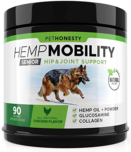 Senior Hemp Mobility - Hip & Joint Supplement for Senior Dogs - with Hemp Oil & Hemp Powder, Glucosamine, Collagen, MSM, Green Lipped Mussel, Dog Treats Improve Mobility, Reduces Discomfort - Chicken (Safe Pain Medication For Dogs With Arthritis)