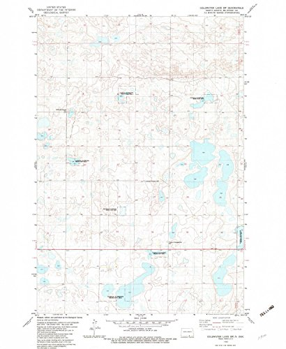 YellowMaps Coldwater Lake SW ND topo map, 1:24000 Scale, 7.5 X 7.5 Minute, Historical, 1982, Updated 1983, 26.9 x 22 in - Polypropylene