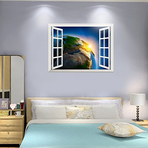 UNIQUEBELLA Universe Space Earth 3D Window Wall Decal Sticker Home Decor Creative Window View Art Mural