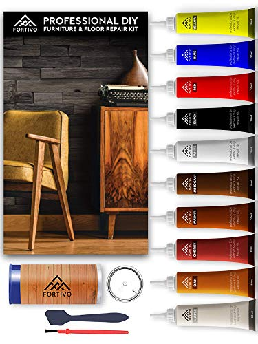 Wood Furniture Repair Kit, Hardwood Laminate Floor Repair Kit, Wood Floor Scratch Repair for Furniture, Wood Putty for Wood Filler - Wood Stain Touch Up, Scratch Remover, Rejuvenate Floor Restorer (Wood Colors Outdoor Stain Furniture)
