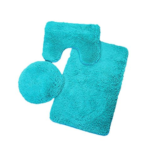 Vacally 3pc Bathroom Set Rug Contour Mat Toilet Lid Cover Plain Solid Color Bath Mats Perfect Plush Mats for Tub, Shower, and Bath Room (Light Blue) by Vacally bathroom accessories