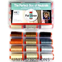 Aurifil Thread Set THE PERFECT BOX OF NEUTRALS By Pat Sloan 50wt Cotton 12 Large (1422 yard) Spools