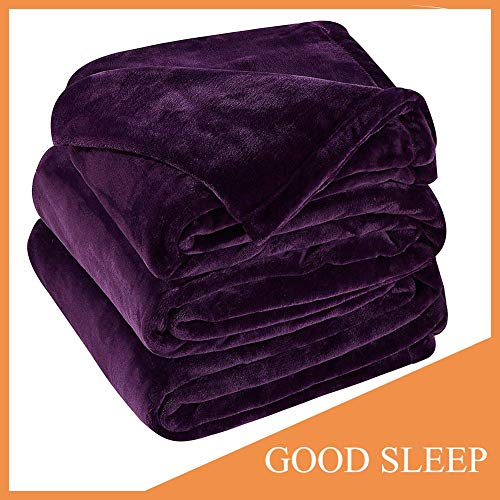 Sonoro Kate Fleece Blanket Soft Warm Fuzzy Plush King(104-Inch-by-90-Inch) Lightweight Cozy Bed Couch Blanket,Easy Care,Purple