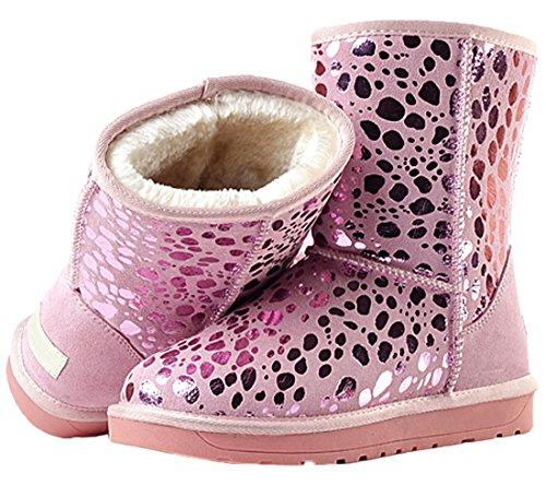 Pink Fell Nubukleder HooH Frauen Stiefeletten Winter Stiefel Schnee warme Pailletten AZFzaq