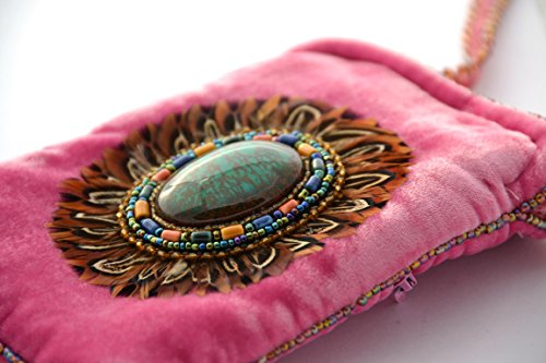 Di Iphone Piuma Borsa In Cristallo E design Velluto Telefono Il Seta Perline Bicchieri Per Porcellana Rosa O qw1w0C