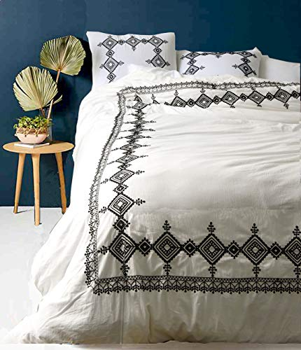 - Flber White Duvet Cover Geo Embroidered Comforter Modern Bedding Navy Blue,Full Queen, 86inx90in