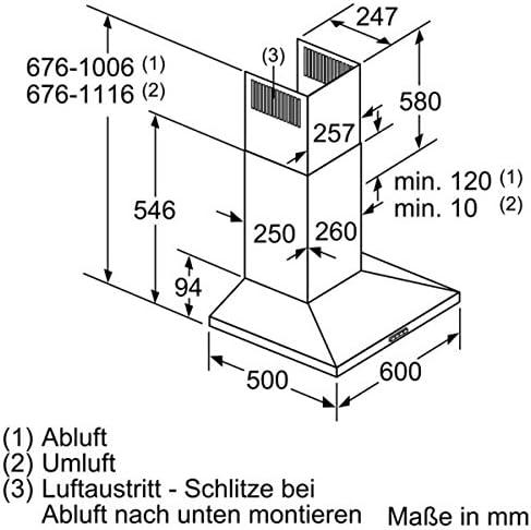 Niveau sonore D/écibel mini Hotte aspirante Pyramide Hotte decorative murale Bosch DWQ66DM50 en m3//h largeur 60 cm D/ébit dair maximum // maxi. en dBA :  50 // 72 : 610