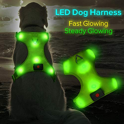 able LED Dog Harness Comfort Soft Mesh Lighted Up Glowing Harness Vest with Adjustable Belt Padded for Dog Night Walking Training (L, Green) ()
