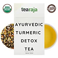 Ayurvedic Turmeric Detox Tea, 100 Gms   The Golden Tea   Clear Toxins   Healthy Bowel Movements   Detoxifying Morning Drink   Contains-USDA Certified Organic Green Tea, Turmeric, Brahmi, Dandelion, Burdock Rock   Nitrogen Flushed, Vacuum Packed For Freshness