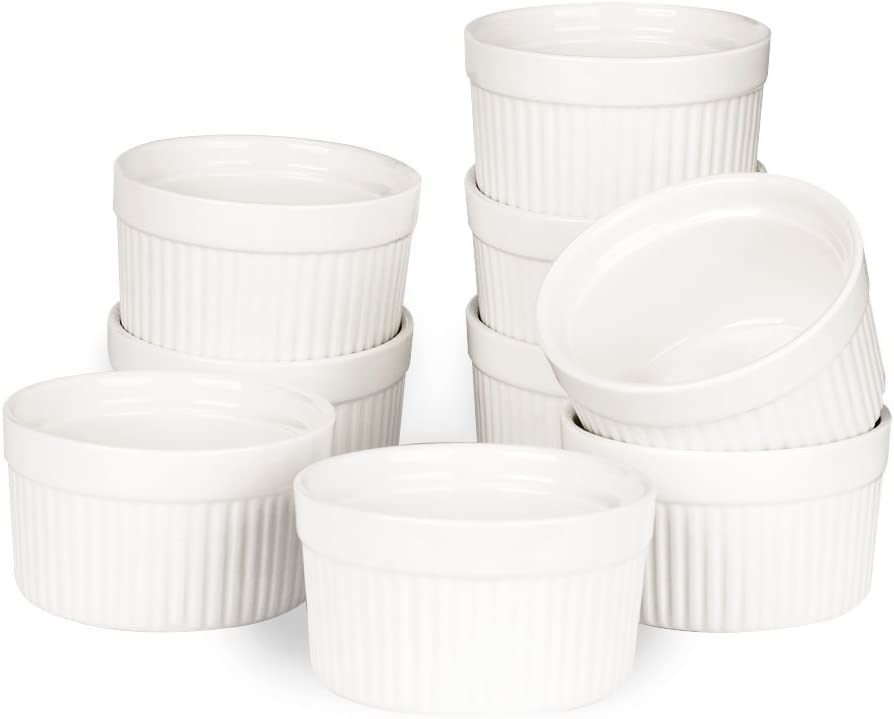 Porcelain Ramekins, SZUAH Ramekin Set of 9, 4oz for Baking, Creme Brulee, Souffle, Appetizer, Custard,Pudding, Dipping Bowl.