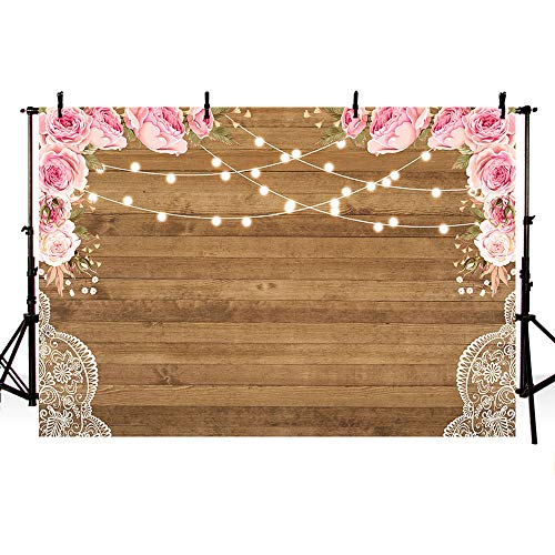 MEHOFOTO Rustic Pink Flowers Brown Wood Lace Backdrop Wedding Floral Photography Background Wooden Board Floor Bridal Shower Baby Birthday Party Banner Photo Studio Props - Floral Photography Backgrounds
