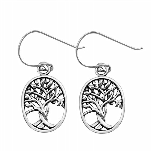 15mm Oval Shape Tree of Life .925 Sterling Silver Fish Hook Earrings Pair (Sterling Fish Silver Life)