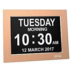 Premium Version - Day Clock - Extra Large Impaired Vision Digital Clock with Battery Backup & 5 Alarm Options (Limited Edition Gold Color, Metal Frame)