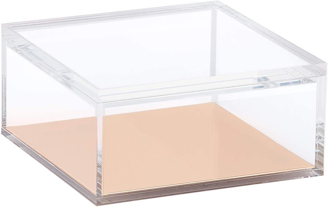OfficeGoods Acrylic and Gold Odds & Ends 6 Inch Box with Lid – Organize, Display, Store or Stack - for the Home or Office - Multi Purposed for Any Room (X-Large)