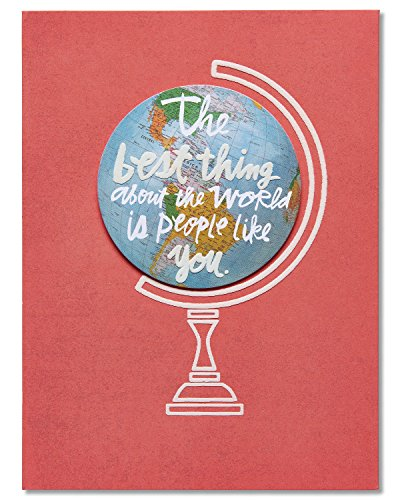 American Greetings Best Thing In The World Thank You Greeting Card with Globe Attachment