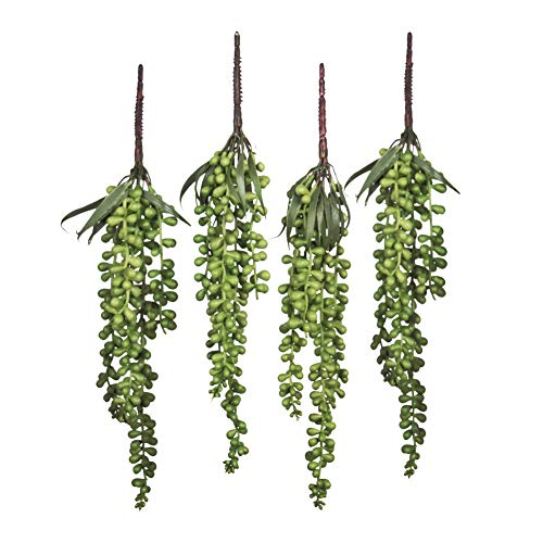 Meiliy 4pcs Artificial Succulent Plants Hanging Succulent Plants Faux Succulents Unpotted Branch String of Pearls Plant for Home Kitchen Office Wedding Garden Craft Art Decor
