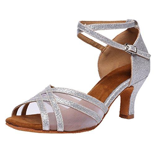 Akanu Women's Latin Dance Shoes Female's Ballroom Salsa Dance Shoes(E-Style Silver Size 10.5)